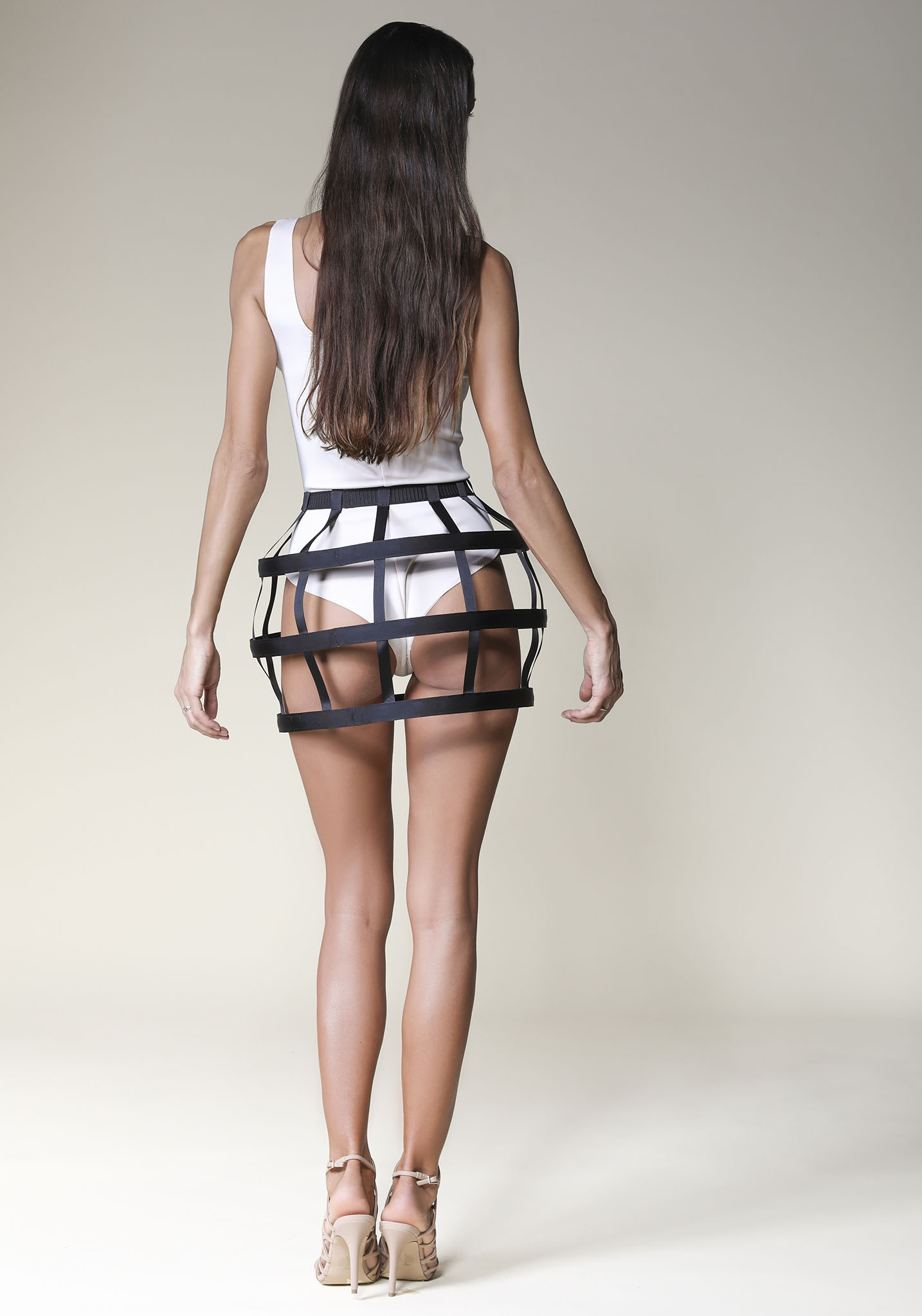 Mini Round Black Cage Skirt Offeradi