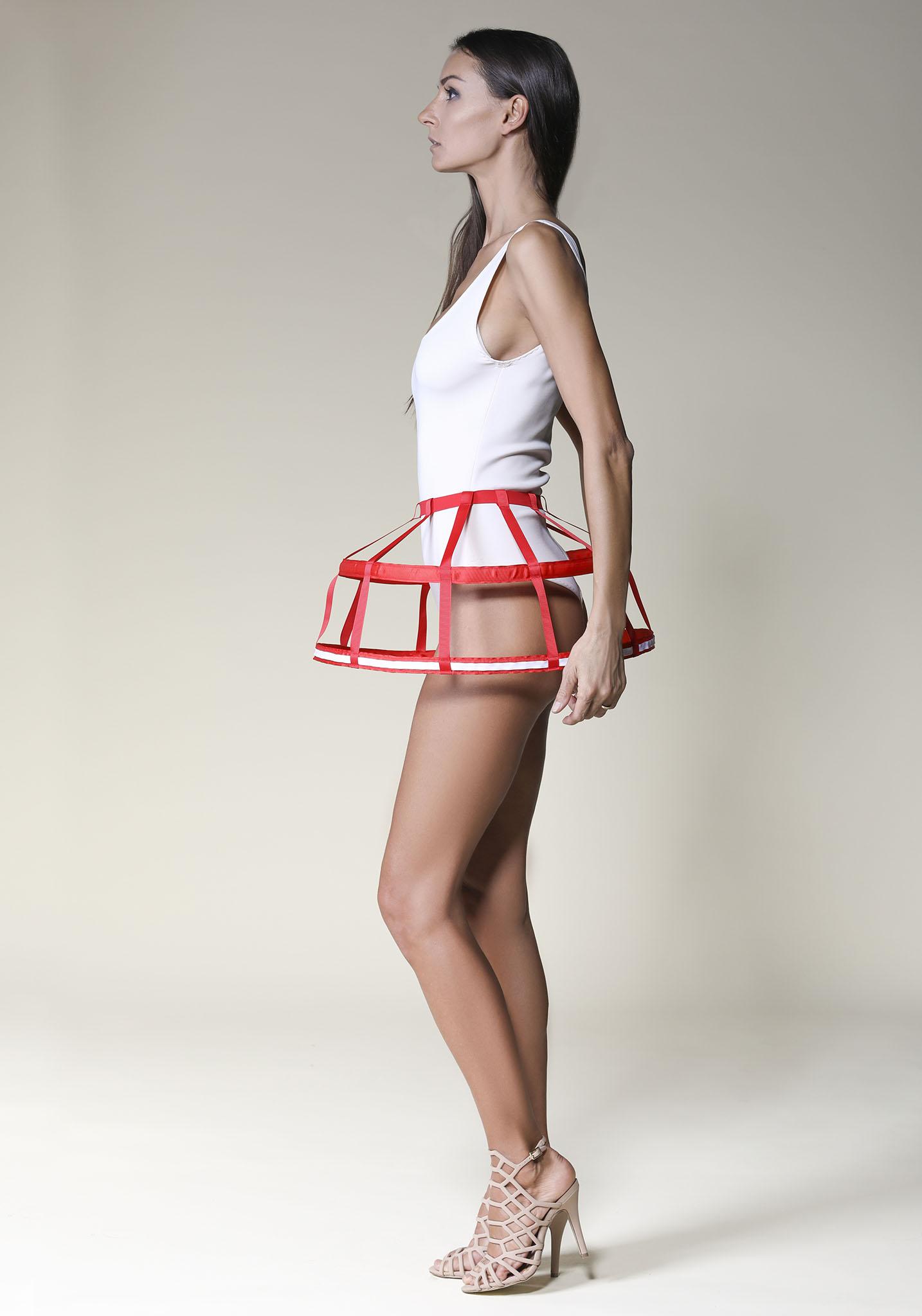 Short Modern Cage Skirt Red